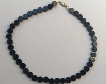 14k Gold Black Onyx Beaded Choker Necklace