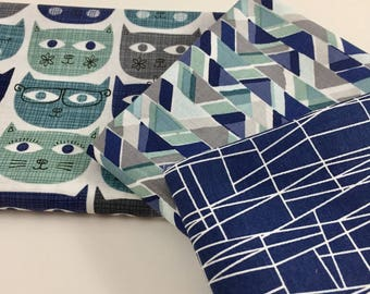 3 Piece Bundle Sassy Cat in Blue, Fat Quarter or Half Yard Cuts, Michael Miller Fabric