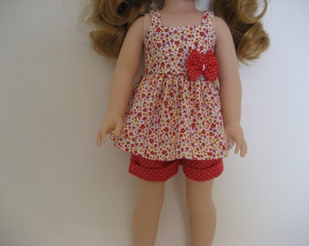 14.5 Inch Doll Clothes - Tiny Red Blossoms Shorts Outfit made to fit dolls such as Wellie Wishers doll clothes