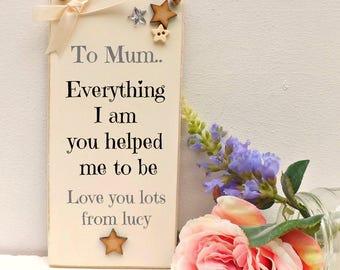Mum Mummy Mother Nan Nanny Gift Hanging Plaque Sign Shabby Chic