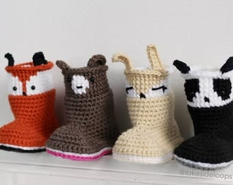 Crochet Pattern - Bailey Slipper Boots/Booties by Lakeside Loops (makes sizes Baby - Kids) - Fox + Panda + Bunny + Bear
