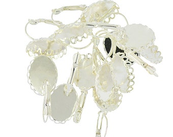 12 x Lever back Earring Wire Hook 18x13mm Blank Oval Flower Bezel Cabochon Setting Silver White Jewelry DIY Making findings