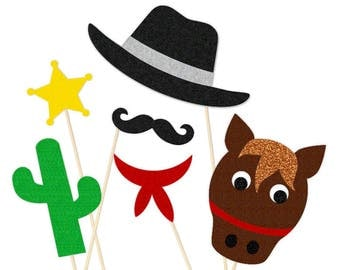 100 % FELT Cowboy Photo Booth Props - Old West Party - Wild West - Cowgirl