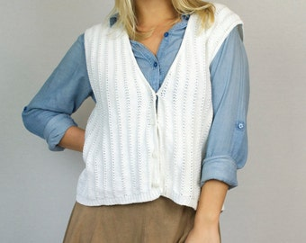 Vintage 90s White Knit Button Down V Neck Cardigan Sweater Vest
