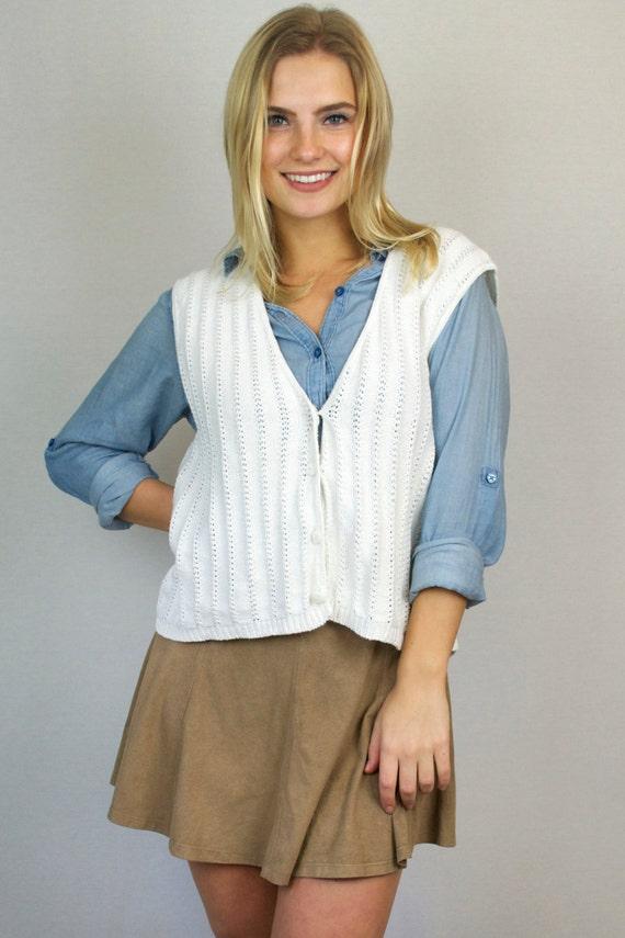 Vintage 90s White Knit Button Down V Neck Cardigan Sweater Vest
