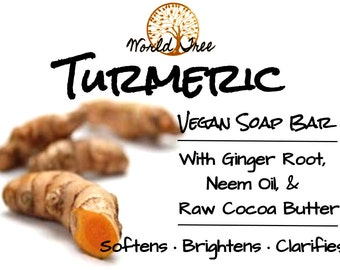 Turmeric Vegan Soap Bar w/ Ginger, Neem Oil, & Raw Cocoa Butter - BESTSELLER! (no fragrance oils or dyes; for all skin types) FREE SHIPPING