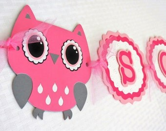 Owl Name Banner - Owl Birthday Banner - Baby Shower Banner - Pink And Grey Banner