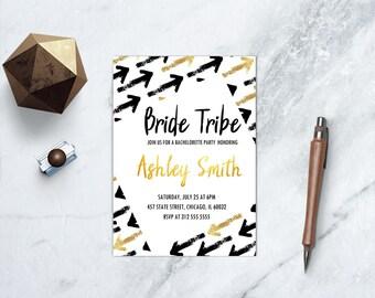 Bride Tribe Bachelorette Invitation, Black & Gold Arrow, Modern Bachelorette Party Invitation, Boho Bachelorette Invitation, PRINTABLE