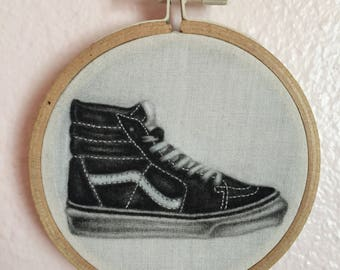 Vans sk8 hi charcoal drawing on fabric with hand embroidered stitching in embroidery hoop