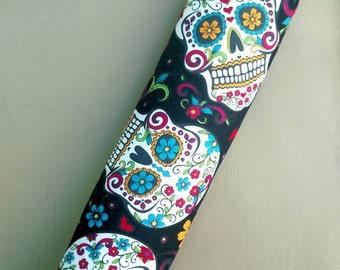 Adult seat belt cover, sugar skull theme