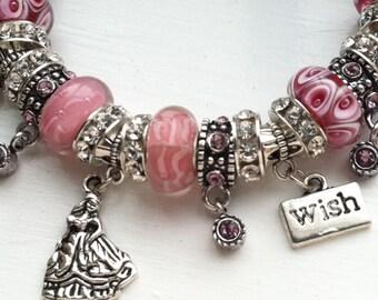 Fairytale Princess Charm Bracelet, Cuff Bracelet, Fairytale Jewelry, Castle Charm, Crown Charm, Pink Bracelet, Pearl Beads, Gift for Her
