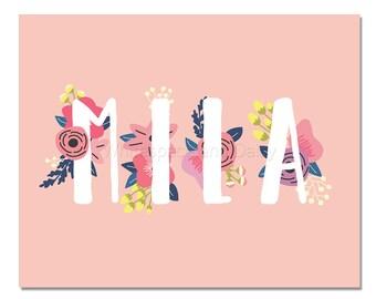 Mila Baby Name Wall Art Mila Baby Name Sign Mila Party Printable Mila Party Decorations Mila Art