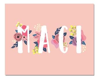 Maci Baby Name Wall Art Maci Baby Name Sign Maci Party Printable Maci Party Decorations Maci Art