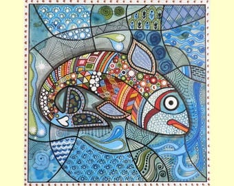Dotting and striping painting  technique, coloured fish original painting art blue red white hand made painting spotted fish