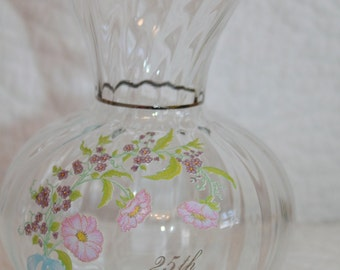 Fenton 25th Silver Wedding Anniversary Crystal Rose Flower Vase With Silver Trim and Writing Original Label Hand Painted