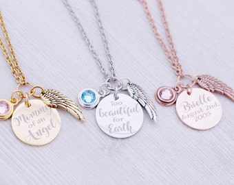 SALE - Stainless Memorial Angel Wing Necklace - Memorial Jewelry - Engraved Jewelry - Mommy of an Angel - Too Beautiful for Earth