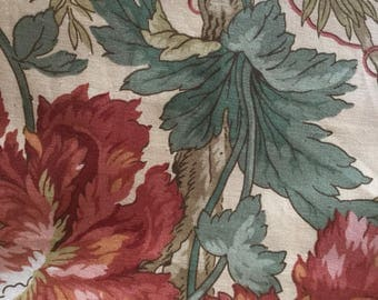 """A large piece of vintage Sanderson """" Meyerling """" from 1983 . Big florals bold colours ."""