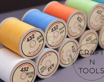 """Thread for Leather Sewing Sajou Fil au Chinois """"Lin Cable"""" #432 (0.63mm) in 31 colors/Cable Sewing Thread/Corded Linen/Waxed Linen Thread"""