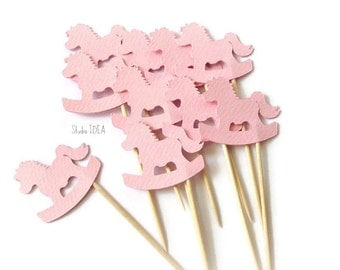 Baby Pink Rocking Horse double-sided Cupcake Toppers, Food Picks-Set of 12 pcs or CHOOSE YOUR COLORS
