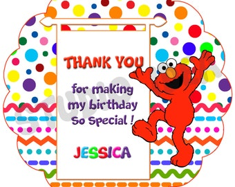 "Custom Elmo Thank you Tags- 2.5"" Printable Elmo, Sesame Street Tags- Personalized Baby Shower, Birthday Thank you Tags- Digital file"