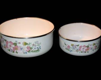 Vintage Enamelware Mixing Bowls, Nesting Bowls, Mixing Bowl Pair, Vintage Bowls, Kitchen Bowls, Floral Mixing Bowls, Enamelware Bowls