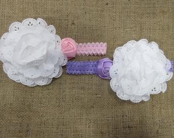 White Eyelet Flower w/Rosette Children's Headband, Big Flower Headband, Easter Headband