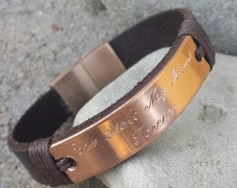 FREE SHIPPING-Engraved Men's Bracelet,Copper Bracelet, Personalized Leather Bracelet,Custom Leather Bracelet,Anniversary Gift,Husband Gift,