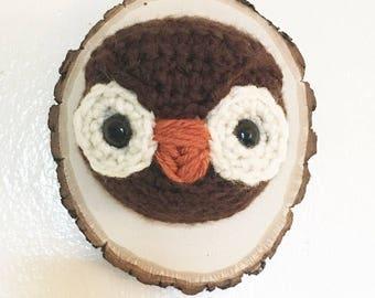 Little Hooter Crochet Taxidermy Owl Head