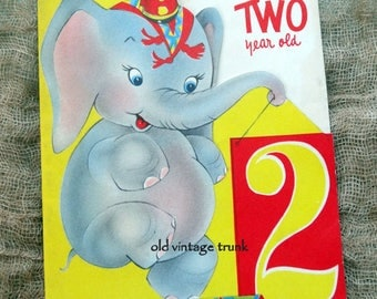 Vintage Two Year Old Circus Elephant Birthday Card