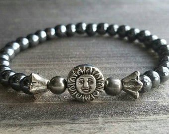 Sunshine Focal on Hematite  Beaded Stretch Bracelet - Great Alone or For Layering