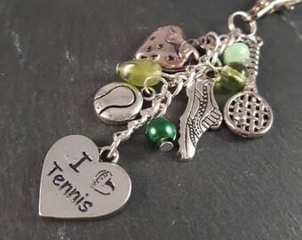 Tennis Bag Charm - tennis gift - tennis lover gift - tennis player gift - sport gift - hobby gift - sport jewellery - birthday gift