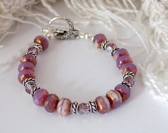 Raspberry Pink Bracelet  Pink Ivory Bracelet  Handmade Pink  Bracelet Czech Glass Bead Bracelet Butterfly Toggle Bracelet Gift for Her