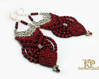 Classic red, black, and silver very lightweight Micro-macrame earrings, Silver 925 leverback hooks, Toho glassbeads and waxed thread