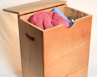 Wooden Laundry Hamper - Flat Top - Hinged Lid - Store dirty clothes and linen