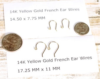 14K Yellow Gold French Hook Earring Wires PAIR with Ball Ends Two Sizes Available