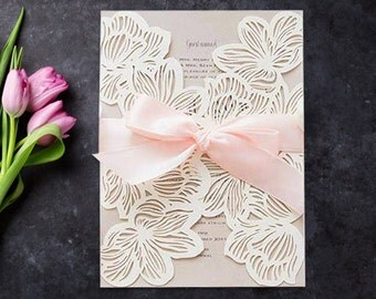 30 Exquisite Flower Laser Cut Wedding Invitation Set: Invitation, RSVP, Direction or Accommodation, Thank You Card