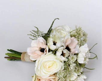 Beautiful silk country rustic Bride's Bouquet. Blush pink roses, anemones, cow parsley, ferns.