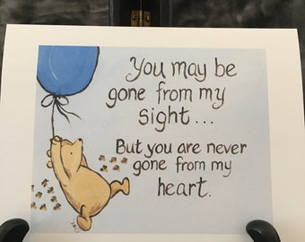 sympathy card grief bereavement classic winnie the pooh saying goodbye going away miss you missing someone thinking of you
