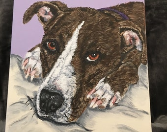 custom pet portrait dog portrait painting from photo animal art pet memorial pet gift pet loss deceased pet lover christmas gift