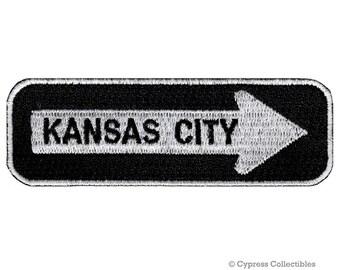 KANSAS CITY Road SIGN patch embroidered iron-on One Way Highway Traffic Sign Road Emblem Biker Symbol Arrow applique Missouri