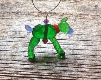 Dog pendant, Handmade glass dog, lampwork animal bead, dog bead