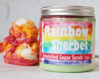 Rainbow Sherbet Sugar Scrub, Sherbert Sugar Body Scrub, Bath Scrub gift for her, Ice Cream Party Favors, Shower Scrub, Hand Scrub