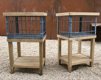 Wire Crate Nightstand or Side Table