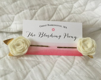 Rosette Bobby Pin or Clips Sets (Multiple Colors Available)