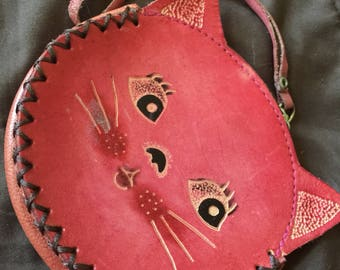 Cute Vintage Leather Coun Purse Kitty Cat