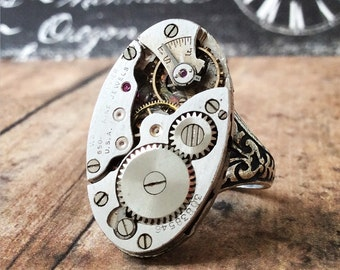 Waltham Premier Ring, Cigar Ring, Watch Movement Rings, Watch Part Ring, Steampunk Jewelry, Silver Ring, Watch Gear Ring, Steampunk