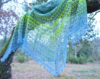 Over the water... Crocheted lace - wool shawl hand-tinted and spun at the spinning wheel