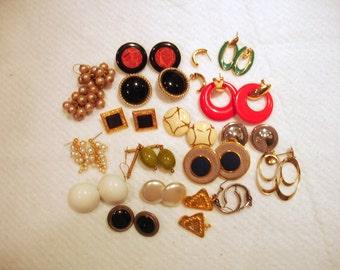 Lot of 18 Vintage Earrings