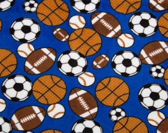 All Sports Fabric Football Soccer Basketball Baseball Football All Sizes of Blankets Monogram Option Choose Color For Back