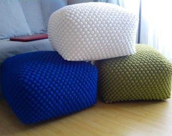 Crochet stuffed white / blue / pistachio green ottoman / Nursery pouf / Knit pouf ottoman / Wool chair